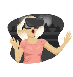 Young woman with virtual reality goggles in cinema vector