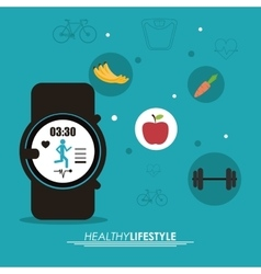 Watch weight and fruits icon healthy lifestyle vector