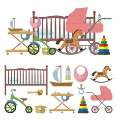 Baby room interior and set of toys for kids vector