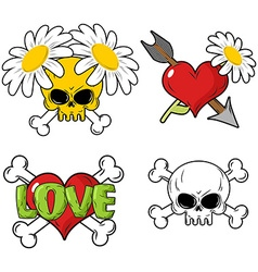 Love and death set elements skull and red heart vector