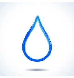 Blue watercolor brush painted ink water drop vector