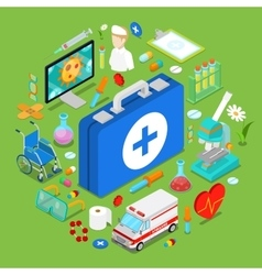 Isometric medical health care objects vector