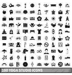100 yoga studio icons set simple style vector image