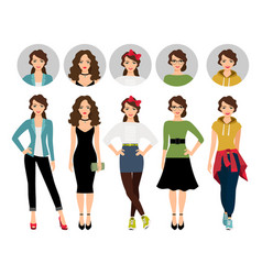 Female model in different style clothes vector