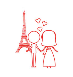 Married couple in the eiffel tower avatar vector