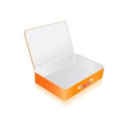 Empty opened orange suitcase vector image