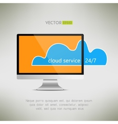 Cloud service on computer screen icon twenty-four vector
