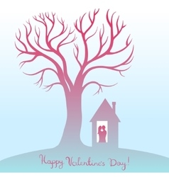 Happy valentines day card with tree of love vector
