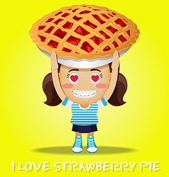 Happy woman carrying big strawberry pie vector