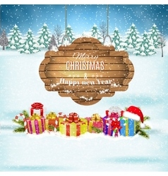Winter background with presents vector
