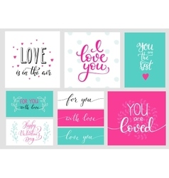 Romantic valentines day lettering set vector