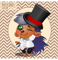 Character hedgehog boy in hat cartoon series vector