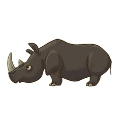 Funny cartoon brown rhino vector