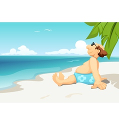 Man on beach vector