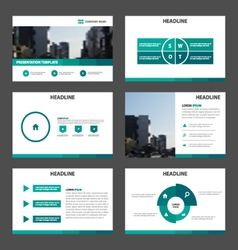 Green presentation infographic layout templates vector