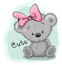 Drawing bear girl vector