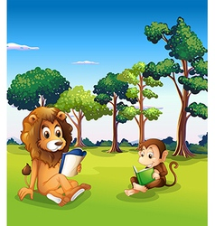 A monkey and a lion reading books vector image