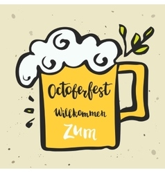 a mug with beer and an vector image
