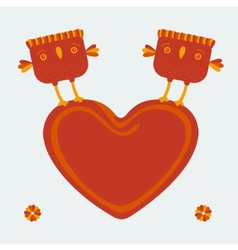 Birds holding the heart vector image