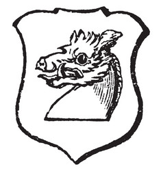 Boar couped is a boars head proper couped vintage vector