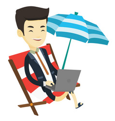 Business man working on laptop at the beach vector