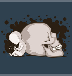 child and skull vector image