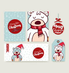 Christmas card set holiday bear cartoon template vector