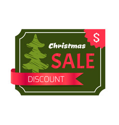 christmas sale discount card vector image vector image