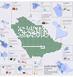 Dot and flag map of saudi arabia infographic vector