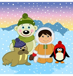 Eskimo boy with arctic animals vector