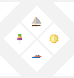 Flat season set of boat yacht sunshine and other vector