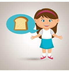 Girl cartoon bread slice vector