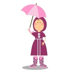 Girl walking with umbrella 19 vector image vector image