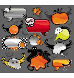 halloween speech bubbles vector image vector image