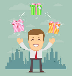 Happy man juggling gift box with bow vector