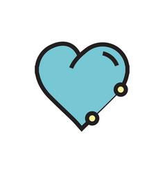 Icon heart pen tool style blue vector
