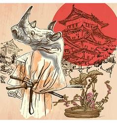 Japan samurai rhino an hand drawn picture line art vector