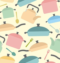 Kitchen utensils seamless pattern Background of vector image