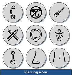 Light piercing icons vector