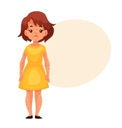 Little girl in yellow dress having chickenpox vector