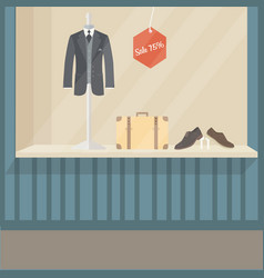 Man suit fashion store front display mannequin vector