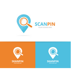 map pointer and loupe logo combination vector image