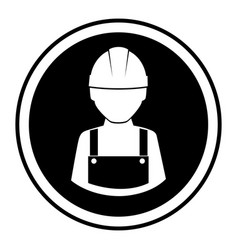Monochrome circular emblem with worker with helmet vector