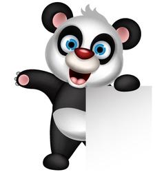 Panda cartoon holding blank sign vector