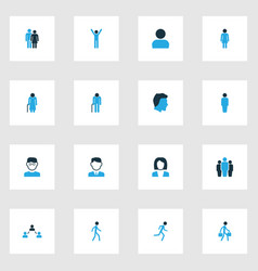 person colorful icons set collection of walking vector image