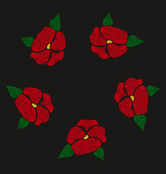 Red flowers embroidered on a black background vector