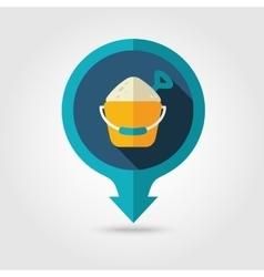 Sand bucket and shovel pin map flat icon summer vector