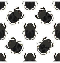 Seamless pattern with dor-beetle geotrupidae vector