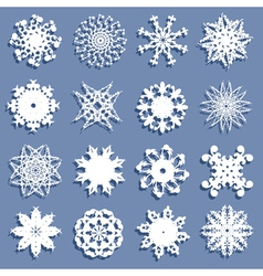 set of 16 snowflakes vector image vector image