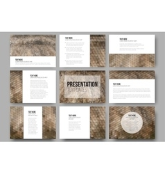 Set of 9 templates for presentation slides Dry vector image